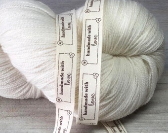 """Ribbon Labels - """"Hand Made With Love"""" - 20 labels - 15 mm wide"""