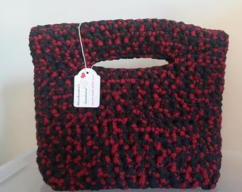 Hand-made ribbon handbag.