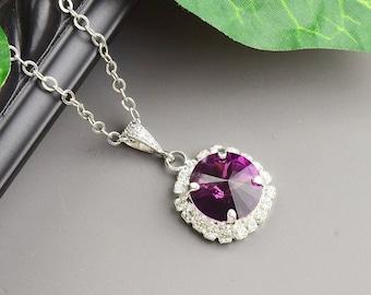 Dark Purple Necklace - Silver Purple Bridesmaid Necklace - Amethyst Swarovski Crystal Pendant Necklace - Bridesmaid Jewelry - Wedding