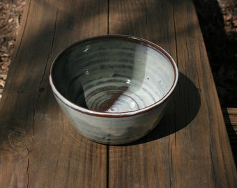 Pottery Cereal Bowl Green and White Glaze NC Pottery