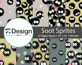 "Soot Sprite Pattern Digital Paper Set | 12""x12"" Digital Paper | Spirited Away Pattern | Totoro Pattern | Dust Bunny Digital Paper Pack"
