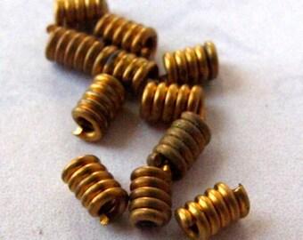 Vintage Brass Spring Tube Beads (100X) (V365)