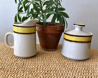 Japanese Stoneware Sugar and Creamer Set