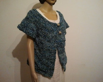 Vest in shades of blue with small white speckles