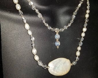 Unique multi layered large Mother of Pearl necklace