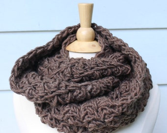Brown infinity scarf, chocolate brown cowl, crochet infinity scarf, warm wool scarf, crochet circle scarf, oversized cowl scarf