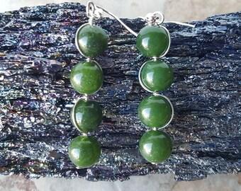 Natural CANADIAN JADE  gemstone beads earrings, Wire wrapped dangle earrings, Gemstone beaded earrings, Heart Chakra bar earrings