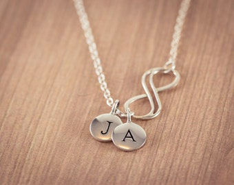 Infinity Love Necklace - two(2) initial, Personal Initial,  Eternity Circle, Infinity Link, in Sterling Silver - Dainty Necklace