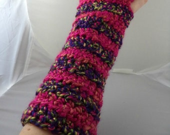 Hot Pink and Purple Striped Crocheted Arm Warmers (size M-L) (SWG-AW-MH16)