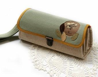 Handy Geldbörse Clutch - Geschenk für Mama, Muttertag, neutral Beige Smartphone-Tasche für Frauen, Blumen stabilen großen Geldbeutel - sofort lieferbar