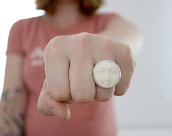 SALES . Moon ring. Sterling silver ring with Hand carved bone Moon. White Moon ring, Moon face, Moon phase ring, full moon ring, moon carved