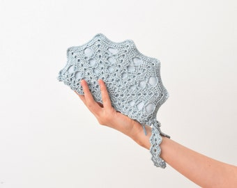 Ice Blue Metallic Wristlet Clutch, Crochet Purse with Strap, Something Blue Wedding Bag, Bride Bag, Winter Wedding Clutch Bag, MORE COLORS