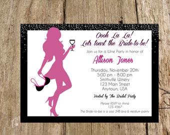 Bridal Lingerie Shower/ Bachelorette Wine Party Invitation