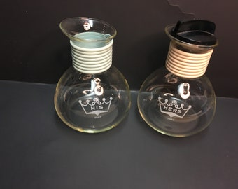 Cory Bedside Water Carafes Blue Pink His and Hers