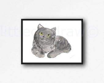 Cat Print British Shorthair Cat Watercolor Painting Print Gray Cat Wall Art Cat Lover Gift Cat Art Print Cat Wall Decor Art Print Unframed