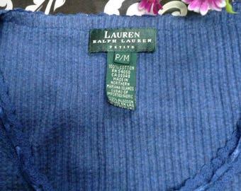 Vintage Gorgeous Ladies Blue Ralph Lauren Long Sleeve Top Petit Small
