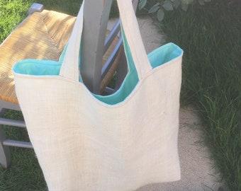 Burlap beach bag