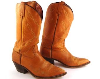 Men's Cowboy Boots Vintage 1980s Tan Acme Carmel Brown size 10 1/2