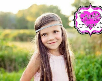 Silver Boho Headband - Adult Boho Headband - Bohemian Headband - Boho - Bohemian - Forehead Headband - Hippie Headband - Sparkle Headband