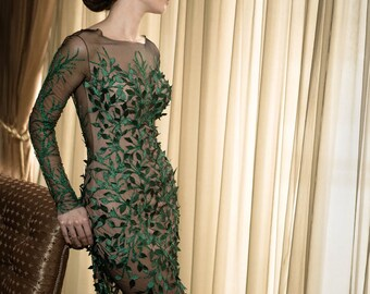 Green formal gown, Long cocktail dress, Mother of the bride dress in green, Handmade romantic dress, Long evening dress, Couture dress