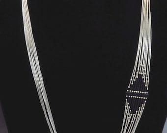 Modern American Indian Sterling Silver Asymmetrical Necklace