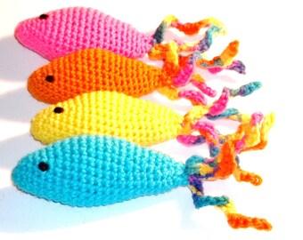 Catnip Cat Toy Fish Curly Tail Hand Crochet