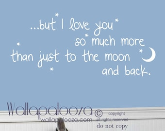 I love you to the moon and back wall decal - Nursery wall decal - Twinkle little star wall decal - Moon and stars wall decal - Wall art