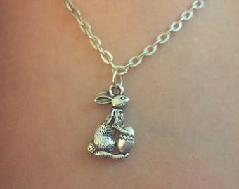 Easter Bunny charm, Bunny necklace, Charm findings, Easter gifts, Bunny pendant, Easter gift for teens, Animal charms silver, Girl gift