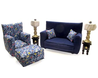 Barbie Doll Living Room Furniture 9-PC Play Set-1:6 scale-Dark Blue with flower print works with Blythe any 11 inch fashion doll