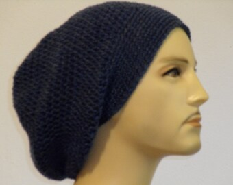Crocheted Beanie in grey blue flecked wool