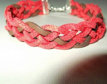 5 way two-tone braided suede strap