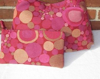 Clutch Purse in Modern Pinks and Magenta Fabric