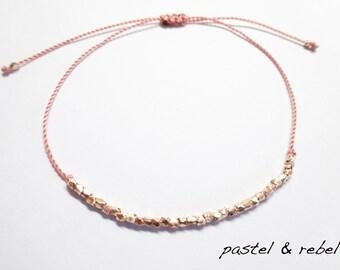 bracelet dusty pink & vermeil gold mini-cubes