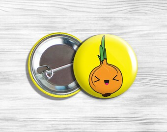 """Kawaii Onion Vegan Vegetarian Fruit Vegetable Pinback Button Pin 1.75"""""""