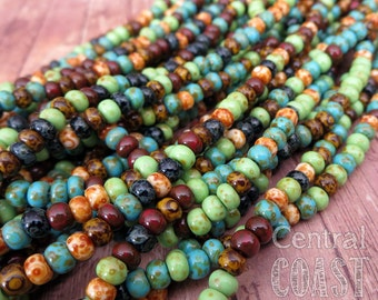 "Gypsy Island - Aged Striped 5/0 Czech Glass Rocaille Seed Beads - 20"" strand - 4.5mm - Rustic Mix - Opaque Picasso - Central Coast Charms"