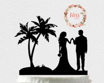 Beach Wedding Cake Topper. Personalized Cake Topper. Custom Wedding Cake Topper. Island Wedding. Beach Wedding. Destination Wedding Topper