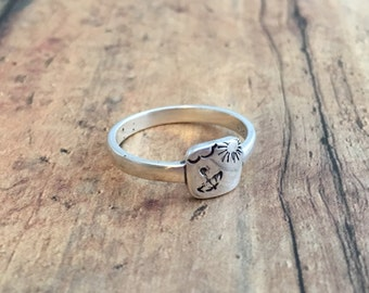 Weather and Umbrella Ring, Hand Stamped Sterling Silver Sun and Umbrella Ring