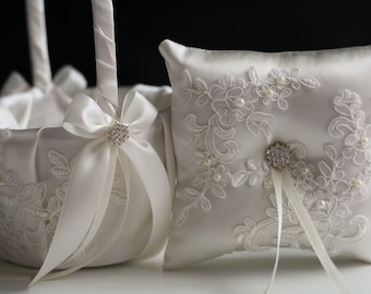 Off White Bearer, Lace Flower Girl Basket, Lace Ring Bearer Pillow Ivory Flower Girl Basket Pillow Set Lace Ring Pillow Ivory wedding basket