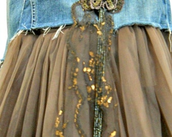 Papillon butterfly fairy jean skirt taupe  tulle bronze vintage lace Seven for All Mankind bohemian mermaid Renaissance Denim Couture