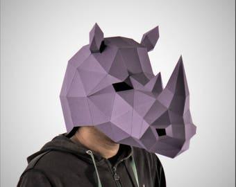 Rhino Mask, Animal Head, Rhinoceros Mask , papercraft,DIY New Year Mask, 3D Polygon Masks, Printable Mask,Halloween Mask