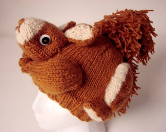 PATTERN - Knit Squirrel Hat