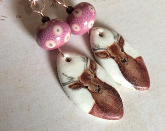 Wild Is A Thing To Be... Handsome Buck Earrings, Artisan Lampwork, Pink, Brown, Woodland, Natural Stone, JustSlightlyVintage