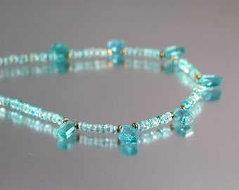 Blue Apatite Necklace - Sterling Silver - Apatite Necklace - Tropical Waters