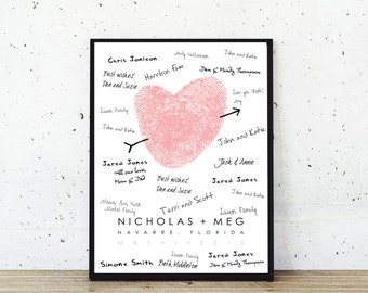 Wedding Guest Book - Fingerprint Guest Book - Guestbook Alternative - Thumbprint Heart Wedding Guestbook - Fingerprint Wedding Poster