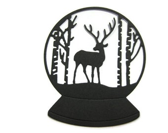 Deer in the Woods Snow Globe Die Cut set of 6