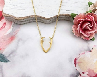 Gold Antler Dainty Necklace