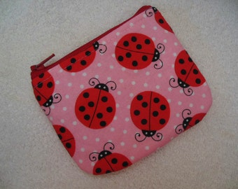 Ladybugs Small zipper coin pouch//Ladybug on pink