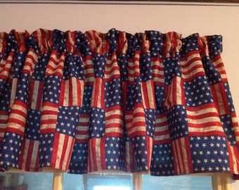 NEW Red Blue Stars Stripes Americana Window Curtain Valance Valances  homemade from American Flag Cotton fabric