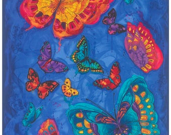 Bright Beautiful Colorful Monterey Butterfly C3990 Cotton Fabric Panel by Timeless Treasures!