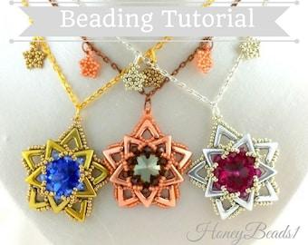 PDF-file Beading Pattern AVA Maria Star Pendant Necklace PDF-file Beading Tutorial by HoneyBeads1